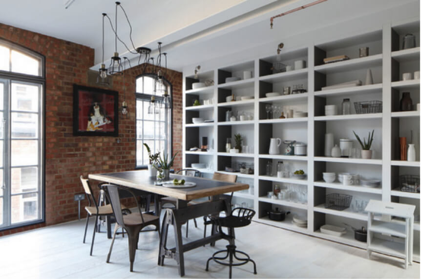 Modern Dining Room with Industrial Accessories