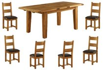 Vancouver Oak Ext. Dining Table - 140cm-180cm & 6 Oak Chairs - Timber or Leather Seats