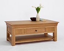 Bordeaux Oak Coffee Table with Shelf & Drawer